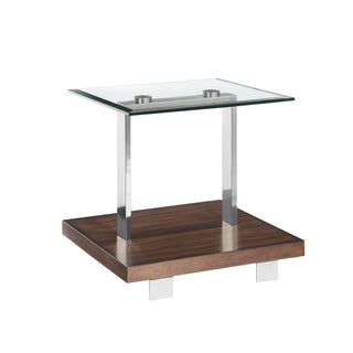 Modern Loft Contemporary Cherry and Brushed Nickel Glass Top End Table