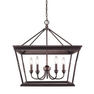 Golden Lighting Davenport Etruscan-bronze-finished Steel 5-light Chandelier With Glass Shade