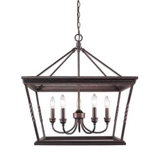 Golden Lighting Davenport Etruscan-bronze-finished Steel 5-light Chandelier With Glass Shade|https://ak1.ostkcdn.com/images/products/13327454/P20031824.jpg?impolicy=medium