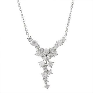 Luxiro Sterling Silver Cubic Zirconia Cascade Y Necklace