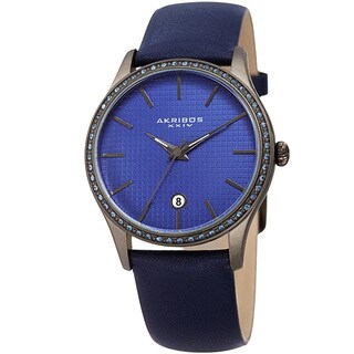Akribos XXIV Women's Quartz Date Swarovski Elements Crystal Leather Blue Strap Watch