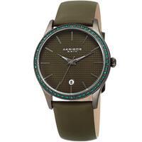Akribos XXIV Women's Quartz Date Swarovski Crystal Leather Green Strap Watch