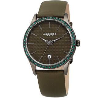 Akribos XXIV Women's Quartz Date Swarovski Crystal Leather Green Strap Watch