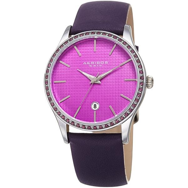 Akribos XXIV Women's Quartz Date Swarovski Crystal Leather Purple Strap Watch