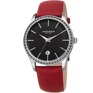 Akribos XXIV Women's Quartz Date Swarovski Crystal Leather Red Strap Watch