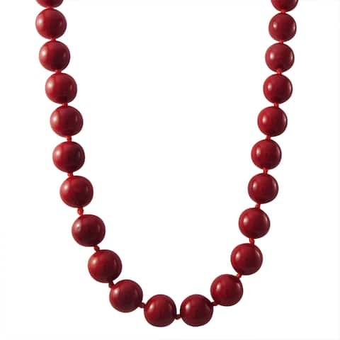 Luxiro Gold Finish 10-mm Red Shell Pearl Strand Necklace