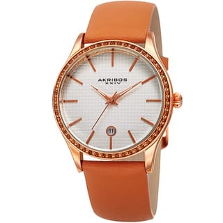 Akribos XXIV Women's Quartz Date Swarovski Crystal Elements Leather Tan Strap Watch with FREE GIFT|https://ak1.ostkcdn.com/images/products/13327548/P20031916.jpg?impolicy=medium