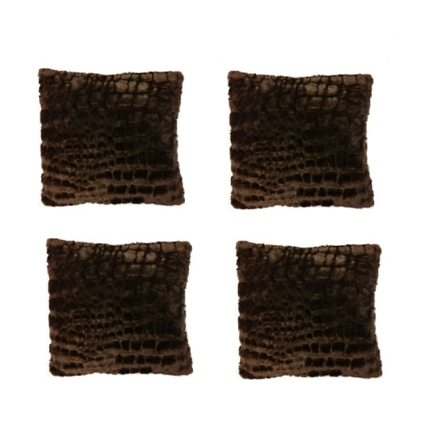 Shop Brown Faux Fur Throw Pillows Pack Of 4 On Sale