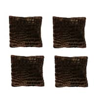 Brown Faux Fur Throw Pillows (Pack of 4)