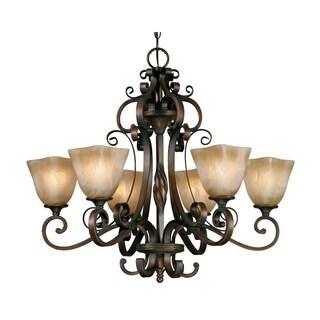 Meridian Golden Bronze Steel Antique Marbled Glass 6-light Chandelier