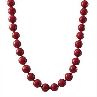 Luxiro Gold Finish 8-mm Red Shell Pearl Strand Necklace