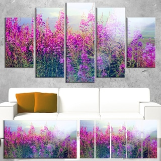 Designart 'Blooming Purple Flowers in Meadow' Large Flower Canvas Wall Art