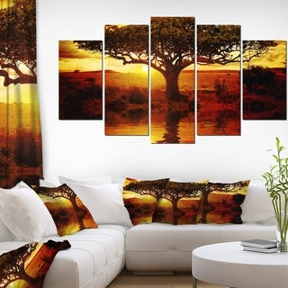 Lonely Tree in African Sunset' Oversized African Landscape Canvas Art - YELLOW