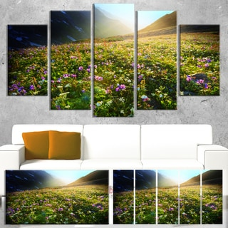 Designart 'Meadow with Colorful Flowers' Oversized Landscape Canvas Art
