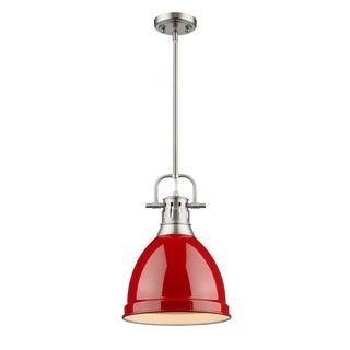 Golden LIghting Duncan Steel Small Pendant with Pewter Rod and Red Shade