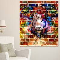 Designart 'Tiger over Abstract Brick Design' Abstract Wall Art Canvas