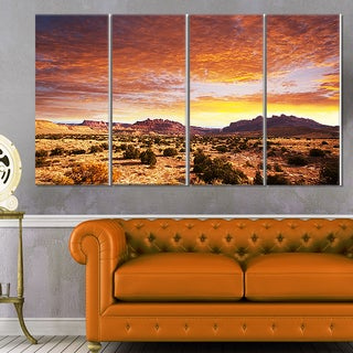 Designart 'Land with Thick Clouds At Sunset' African Landscape Print Wall Art