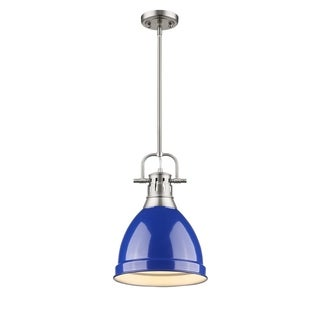 Golden Lighting Duncan Pewter-finished Steel Small Pendant with a Blue Shade