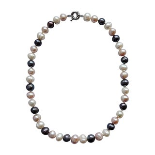 Sterling Silver Black, Pink, and White Freshwater Baroque Pearl Necklace and Earrings Set