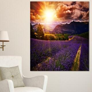Designart 'Beautiful Sunset over Lavender Field' Large Floral Canvas Art Print - Purple