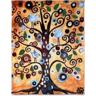 Abstract Tree of Life Gold-tone Cotton Wall Tapestry