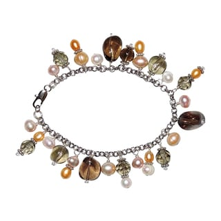 Pearl and Quartz Charm Bracelet