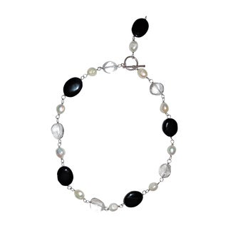Pearl, Onyx, and Clear Quartz Necklace