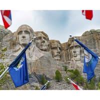 Stewart Parr 'Mount Rushmore Thru Flags' Unframed Photo Print