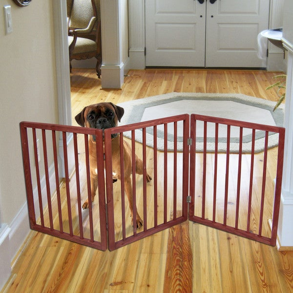 Imperial Home Brown Wood Extra Wide Freestanding Indoor Pet Gate