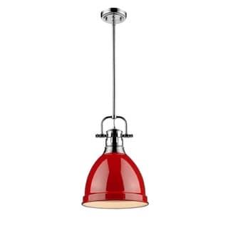 Golden Lighting Duncan Chrome Rod/Red Shade Small Pendant