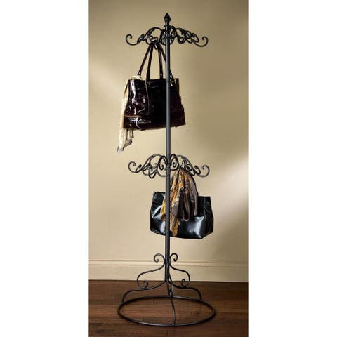 Black Metal 2-tier Coat or Purse Rack