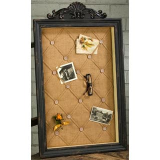 Brown Wood and Fabric Antique Memo Board
