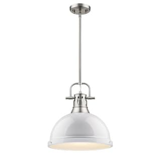 Golden Lighting Pewter White Shade Duncan 1-light Pendant
