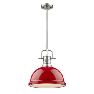 Golden Lighting Duncan Pewter Rod/Red Shade 1-light Pendant