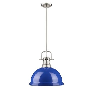 Golden Lighting Duncan Blue/Pewter Metal 1-light Pendant Fixture