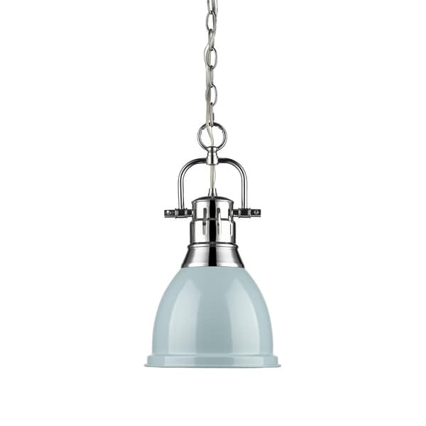 Golden Lighting Duncan Chrome Finished Steel Small Pendant Light Fixture With Chain And Seafoam Metal
