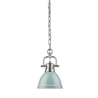 Golden Lighting Duncan Steel Mini Pendant with Pewter Chain and Seafoam Shade