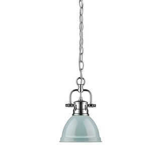 Golden Lighting Duncan Chrome Metal and Seafoam Shade Mini Pendant