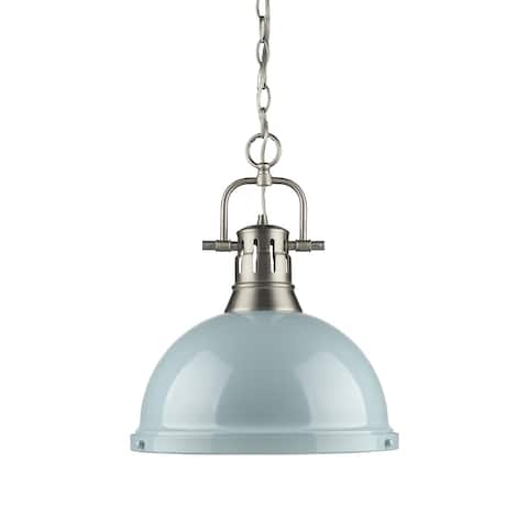Duncan 1 Light Pendant with Chain in Pewter with a Seafoam Shade