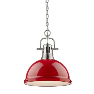 Golden Lighting Duncan Pewter Red Shade Chained 1-light Pendant