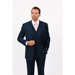 Demantie Men's Navy Rayon Viscose Classic Fit Suit