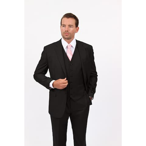 Demantie Men's Black Rayon and Viscose Classic Fit Suit