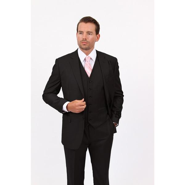 Demantie Mens Black Rayon and Viscose Classic Fit Suit