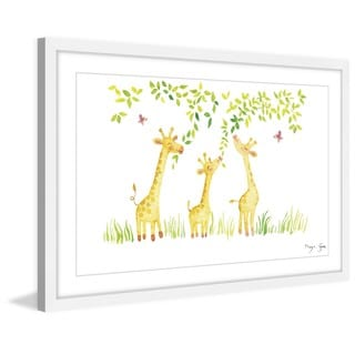 Marmont Hill - 'Three Giraffes' by Maya Gur Framed Painting Print