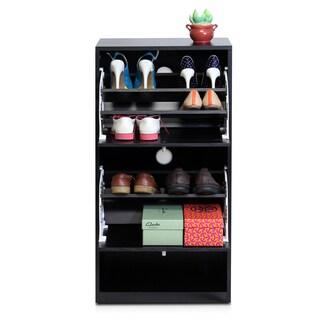 Furinno FNAJ-11041 Black Wood 3-tier 2-door Shoe Storage Cabinet