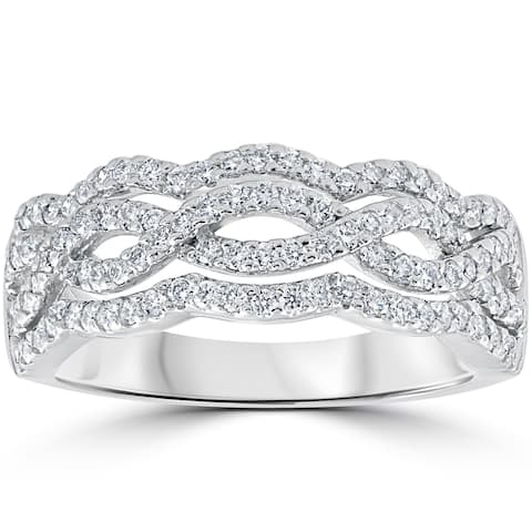 14k White Gold .67ct TDW Diamond Multi Row Infinity Anniversary Ring (F-G, VS1-VS2) - White G