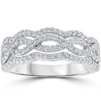 14k White Gold .67ct TDW Diamond Multi Row Infinity Anniversary Ring (F-G, VS1-VS2)