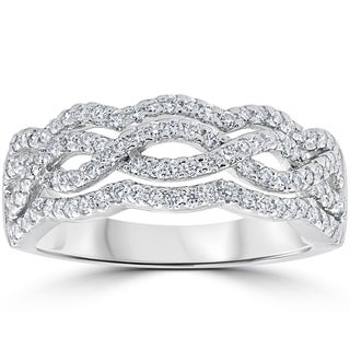 14k White Gold .67ct TDW Diamond Multi Row Infinity Anniversary Ring (F-G, VS1-VS2)