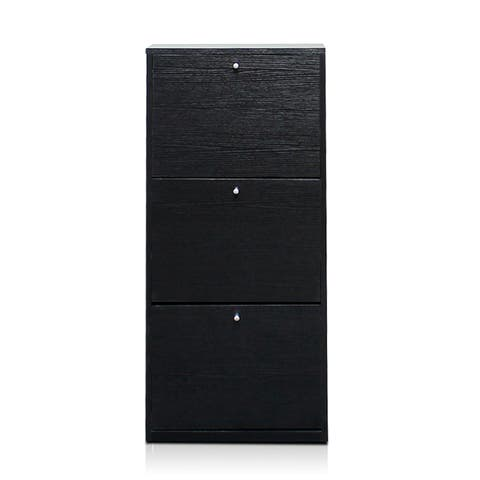 Furinno FNAJ-11042-1 Black and White Black Wood 3-tier 3-door Shoe Storage Cabinet