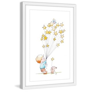 Marmont Hill - 'Boy with Stars' by Brilliant Critter Framed Painting Print